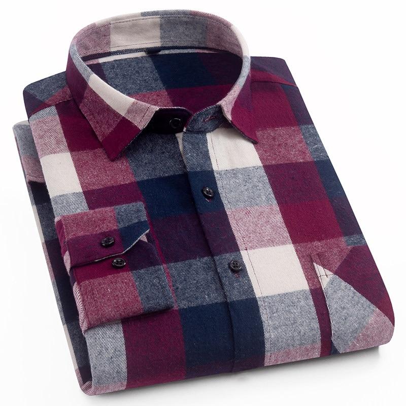 Menns 100% Cotton Casual Plaid Skjorter Pocket Langermet Slim Fit - Herreklær - Bilde 5