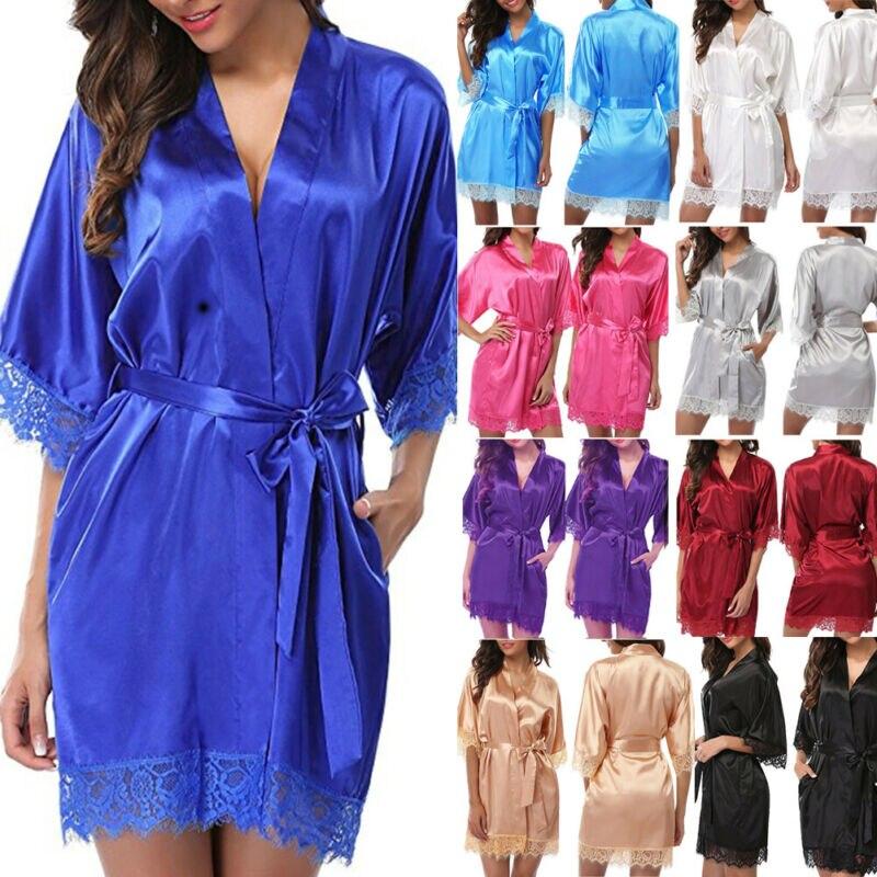Women's Robe Silk Satin Robes Wedding Bridesmaid Bride Lady Rayon Bath Gown Yukata Nightgown Sleepwear Pijama Mujer
