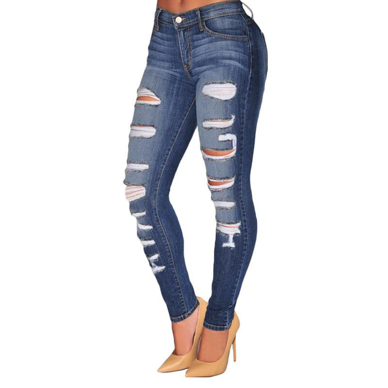ФОТО New Fashion Women 2017 Light Denim/Blue Denim Pencil Jeans Ladies Trousers Plus Size  Wash Skinny Jeans With Hole LC78648