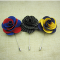 Newest 5cm Men double color rose  flower  stick pin  lapel pin  brooch pins 12pcs/lot  3color for your choice Free shipping