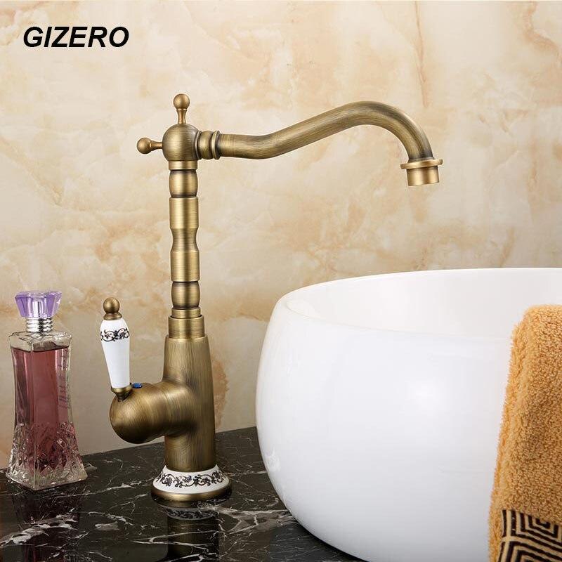 Antique laiton robinet cuisine évier mélangeur bec pivotant salle de bain bassin robinet torneira pont monté ZR110