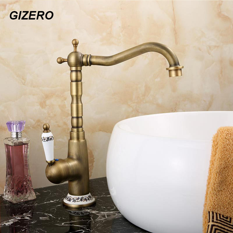 Antique Brass Faucet Kitchen Sink Mixer Swivel Spout Bathroom Basin Tap torneira Deck Mounted ZR110