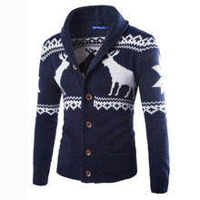 2017 New Arrival Autumn Men Casual Long Sleeve Print Cardigan Mens Slim Sweater Knitted Jumpers Cardigans 4 Colors Coat 13M0321