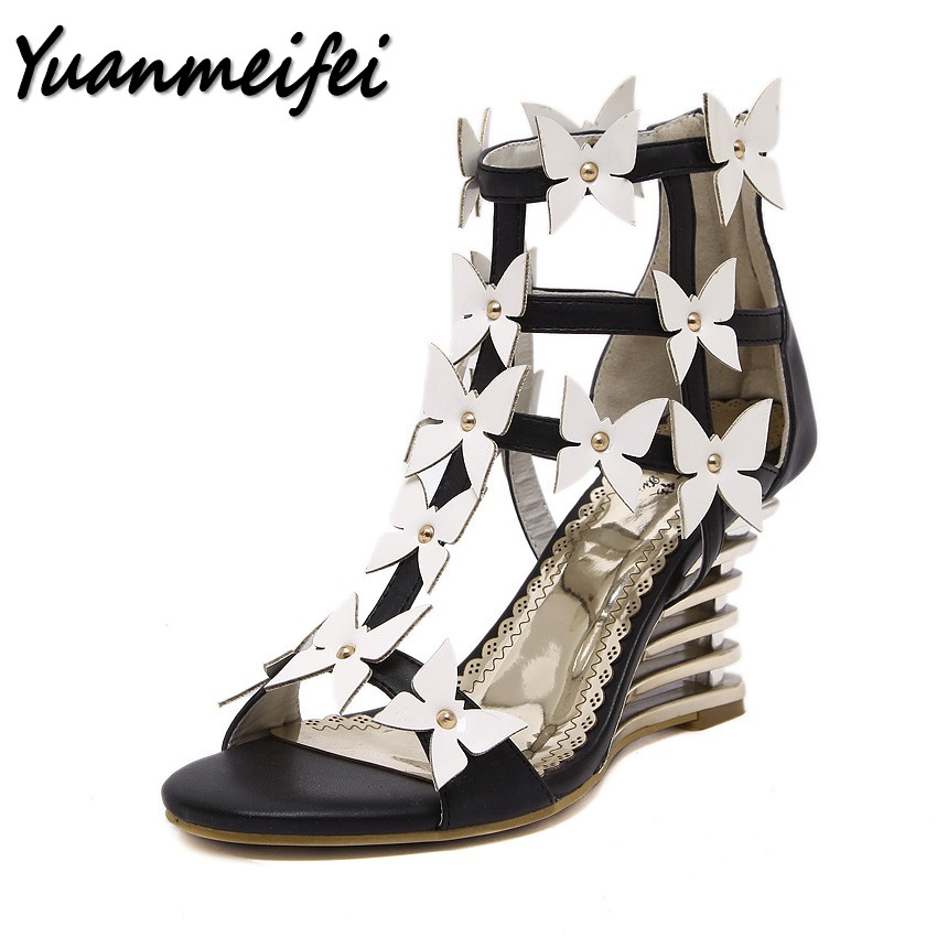 Yuanmeifei summer women Sexy Open toe high heels shoes sandals woman Mixed Colors Flower party ladies Hollow out Wedges sandals polka dot style protective silicone back case for samsung galaxy note 3 black white