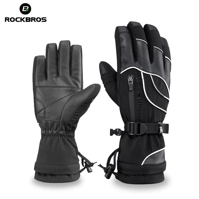 ROCKBROS Long Finger <font><b>Cycling</b></font> Gloves Thermal Waterproof Snowboard Gloves Snow Windproof -30 Degree Riding Bicycle Winter Gloves