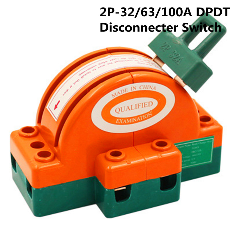 DPDT 32A/63A/100A Two Pole Double Throw Knife Disconnect Switch 220v/380v