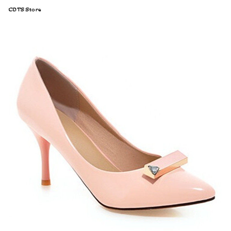 все цены на CDTS Spring shallow mouth pointed toe thin heels single shoes small yards 31 32 33 plus size 42 43 female pumps woman work shoes