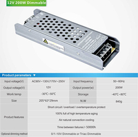 Triac & 0 10V dimmable DC power supply for led strip light DC 12Vdc 16.7A DC 24V 8.3A 200w lighting transformer