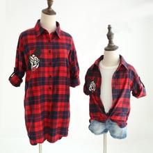 Mère et duagther chemise Famille Correspondant Tenues de bande dessinée plaid blouse shirt pour filles et maman belle famille match vêtements