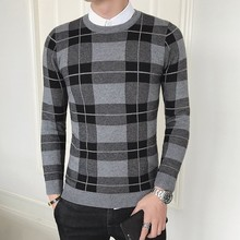 Vintage Pattern Check Sweaters Men Plaid Sweater Hombre Men Round Neck Sweter Masculino Pull Homme Hiver Mens Plaid Sweater