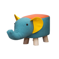 Modern Animal Stool Series Upholstered Ride on Ottoman Footrest Stool with Vivid Adorable Animal Like Features Elephant Cow Pig