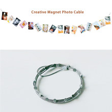 2pcs 3M/1.5m High Quality Silver Magnetic Cable Photo Card Holder With 16/8 Net Magnetic Buckle Image Magnet Anniversary Decor(China)