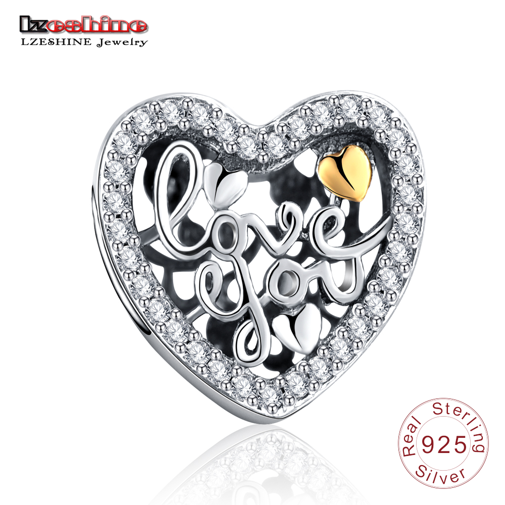 LZESHINE Authentic 100% 925 Sterling Silver with Love You Charms Fit Original Bracelets Bangles Jewelry Accessories PSMB0721