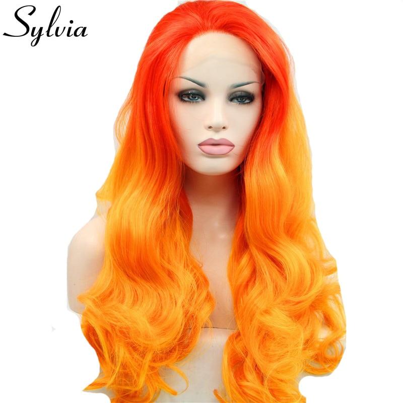 Sylvia röd till orange tvåfärgad kroppsvåg syntetisk spets främre parykfri avskiljning värmebeständig fiberhår för vit kvinna