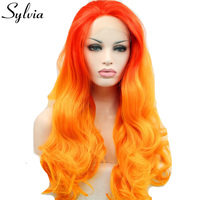 Sylvia red to orange two tone ombre body wave synthetic lace front wigs free parting heat resistant fiber hair for white woman