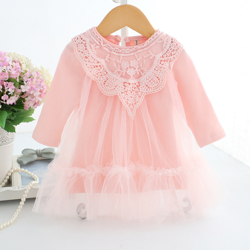 2018 New Brand Kids Baby Girls Clothes Spring Autumn Lace Flowers Round Neck Long-sleeve Casual Princess Party Girls Dresses new spring autumn girls lace princess dress hollow long sleeved chrismas new year dresses girls clothes roupa infantil feminina