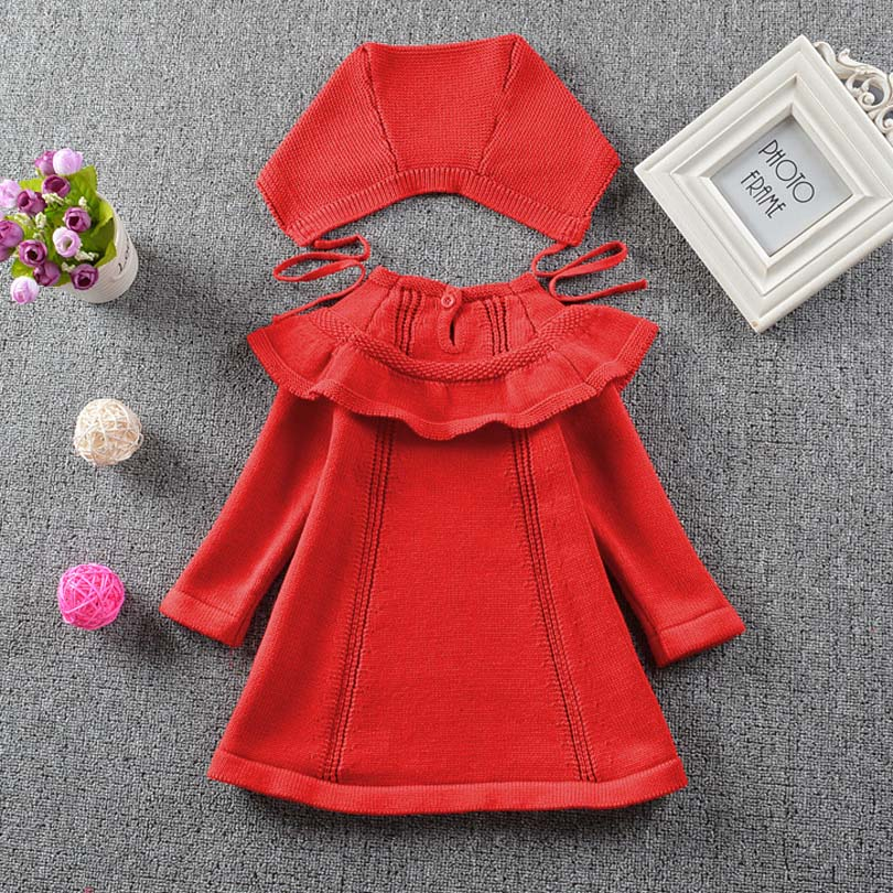 New 2018 Spring Autumn Girl Princess Sweater Dress Knitted Cute White Baby Dress Kids Red Dress For Infant Girl Dress with Hat new fashion spring autumn winter newborn baby girls sweater princess dress infant knit dress baby little girl jersey dress apron
