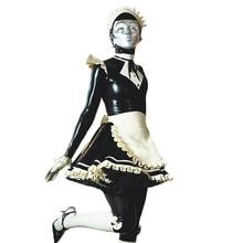 Сексуальный латекс Лолита Униформа девушка платье один комплект резиновый Фетиш латексные платья с фартуком и головной убор размер индивидуальные S-LD290
