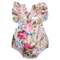 Цветочные Оборками Рукавом Ползунки новорожденных девочек одежда 2017 Новорожденных Девочек Комбинезон Playsuit Комбинезон Одежда Наряды