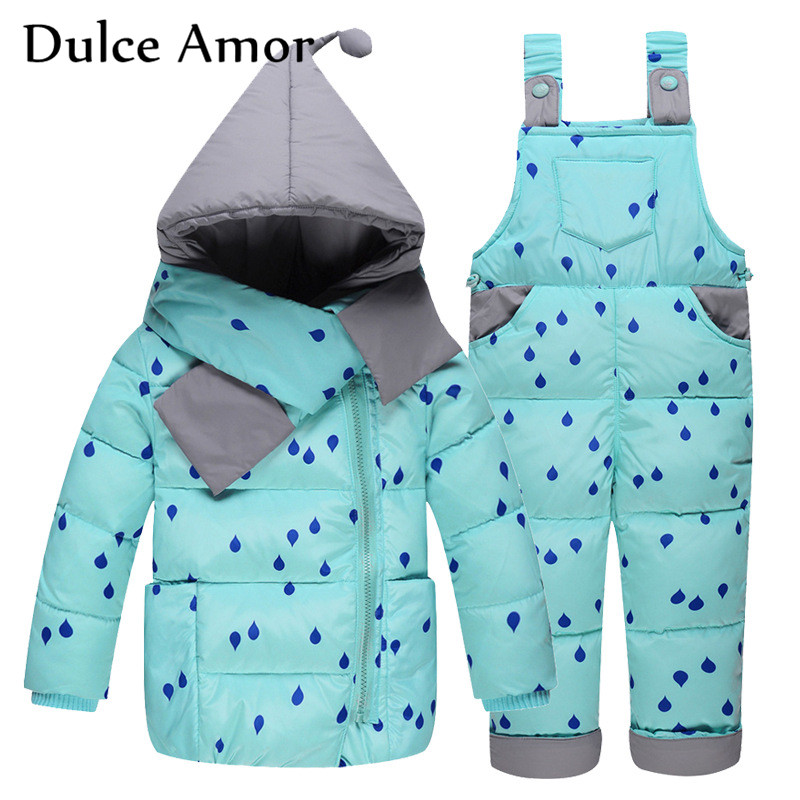 Dulce Amor Winter Warm Infant Down Jacket Set 3PCS Baby Kid Detachable Cap Coat +Scarf +Romper Russian Children Winter Parkas cacharel туалетная вода женская amor amor l eau 50 мл os