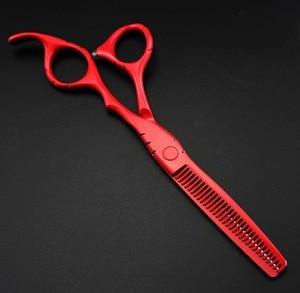 Image 3 - Tijeras de corte y corte de pintura de Piano rojo de 5,5 y 6 pulgadas, hechas a medida, tijeras de corte de pelo, bolsa, tijeras de peluquería