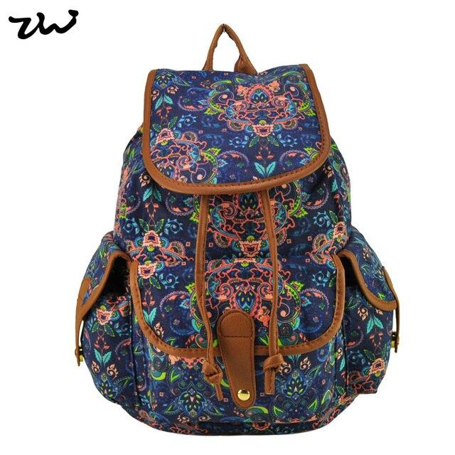 Nova Marca Chegada ZIWI Senhoras Anna Smith mochila Canvas Retro Backpack Mochila Girls School Mochila QQ1626-1