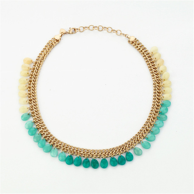 A moda Europeus e Americanos por atacado e vendas diretas Multicolor pedra natural pingente gota colar da senhora
