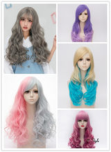 American Warehouse Clearance Sale!!! Low Price Lolita Cute 65CM Multicolor Long Curly Heat Resistant Cosplay wig + Free Cap(China)