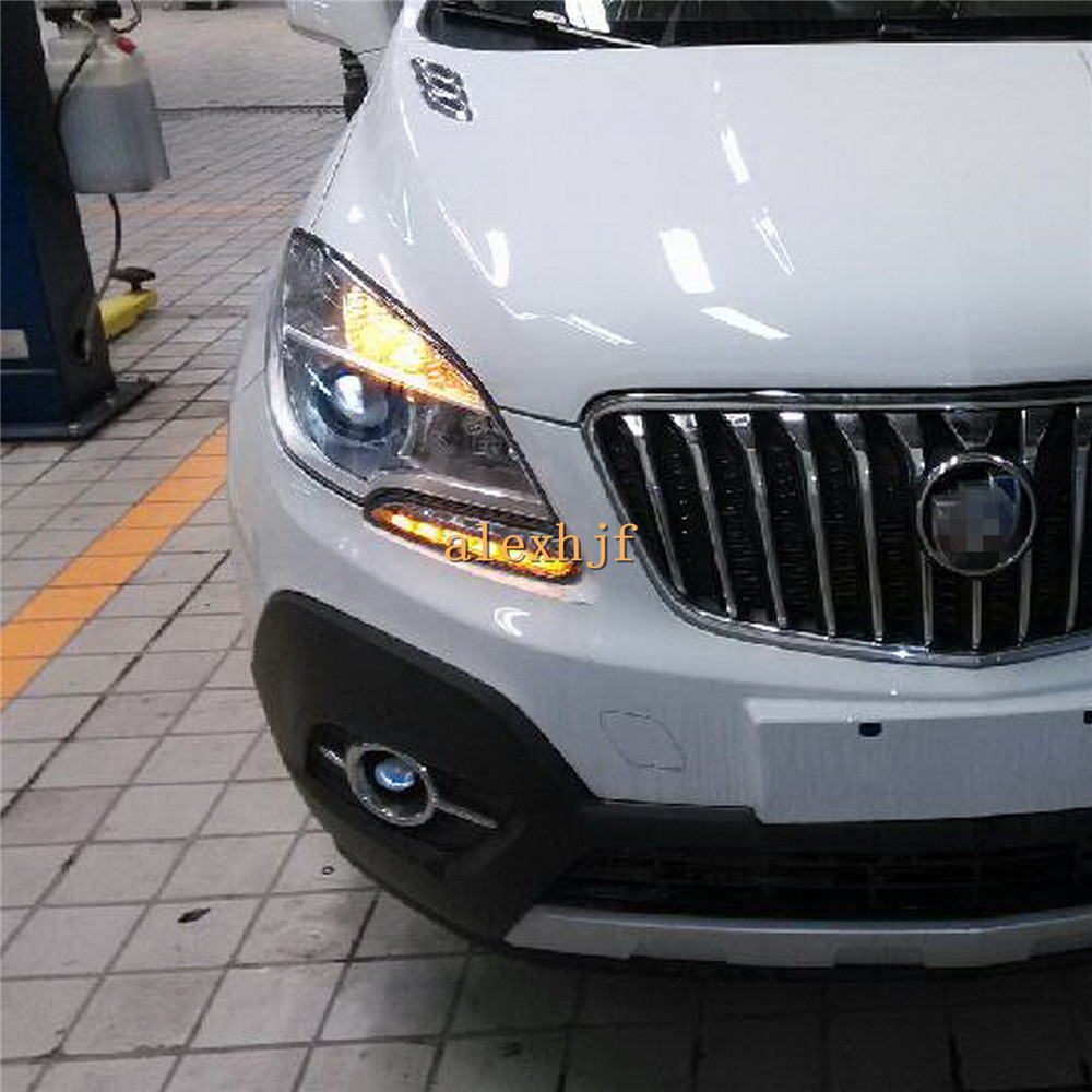 July King LED Daytime Running Lights DRL at Headlight Lamp Eyebrow case for Buick Encore Opel Mokka 1:1, With Yellow Turn Signal july king led daytime running lights drl at headlight lamp eyebrow yellow turn signals case for buick ncore opel mokka 2013 on