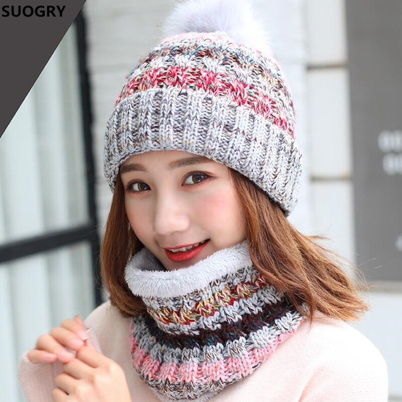 Winter New Warm Girls Beanies+Scarf Sets Knit Fight Color Women Plush Thick Caps+ o Ring Collars Suits Adult Two Pc Crochet Hats