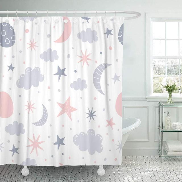 Fabric Shower Curtain With Hooks Kid Nursery Baby Children Star Bedtime Dream Sky Scandinavian Cloud Space Bathroom Decor