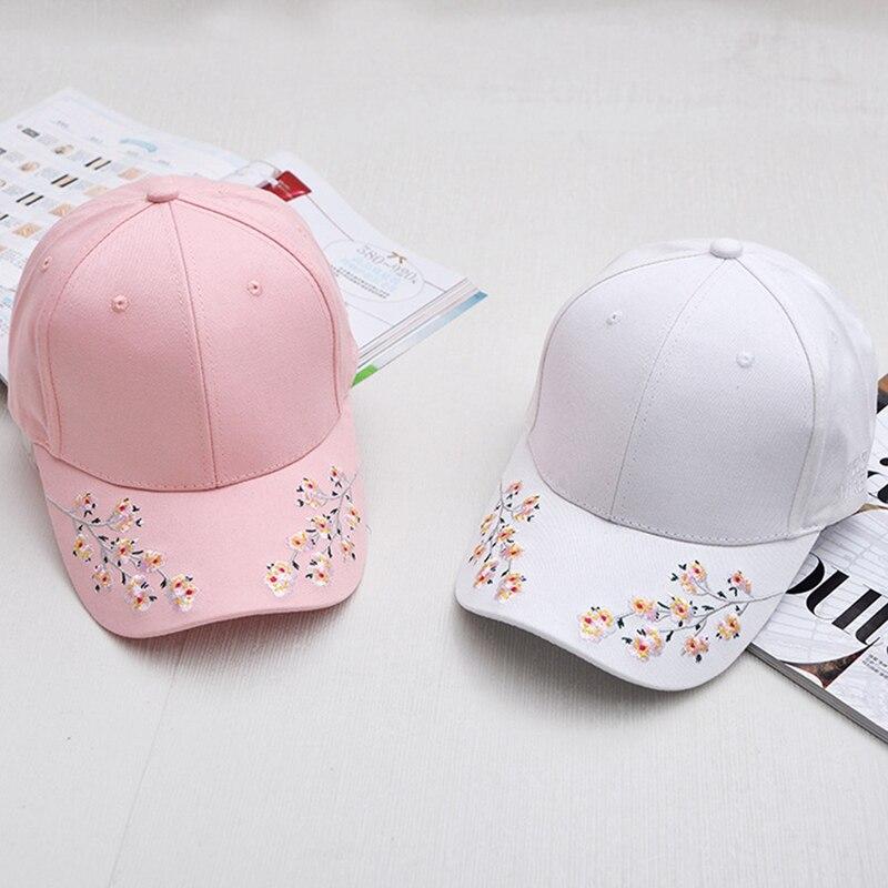 Women Summer Hats Symmetrical Flower Embroidery  Insulation Knitted Hats Femme Baseball Cap Adjustable
