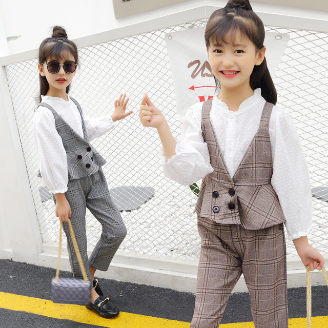 bf7d4d0a5 Girls Clothing Sets Cotton Plaid Vest + Pants for Girls Fashion 2pcs ...