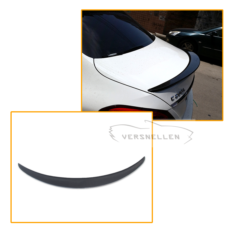 Mercedes <font><b>W205</b></font> <font><b>Spoiler</b></font> Carbon Fiber Rear Trunk <font><b>Spoiler</b></font> wing C200 C300 C180 4 Doors Sedan Car 2014 UP image