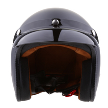 ABS 3/4 Open Face Vintage Motorcycle Motorbike Helmet With Sun Visor Flat Black Antique Protective Gears