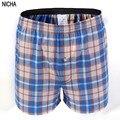 Tejidas pantalones cortos a cuadros de algodón más tamaño ropa interior de los hombres al por mayor sexy hombres boxeadores