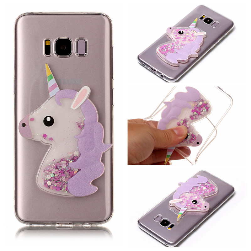 the best attitude 835b0 ce786 US $4.98 |Phone Case For Samsung S8 Plus Cute Unicorn Phone Coque For  Samsung Galaxy S8 Plus Glitter Sands TPU Phone Cover Size Optional on ...