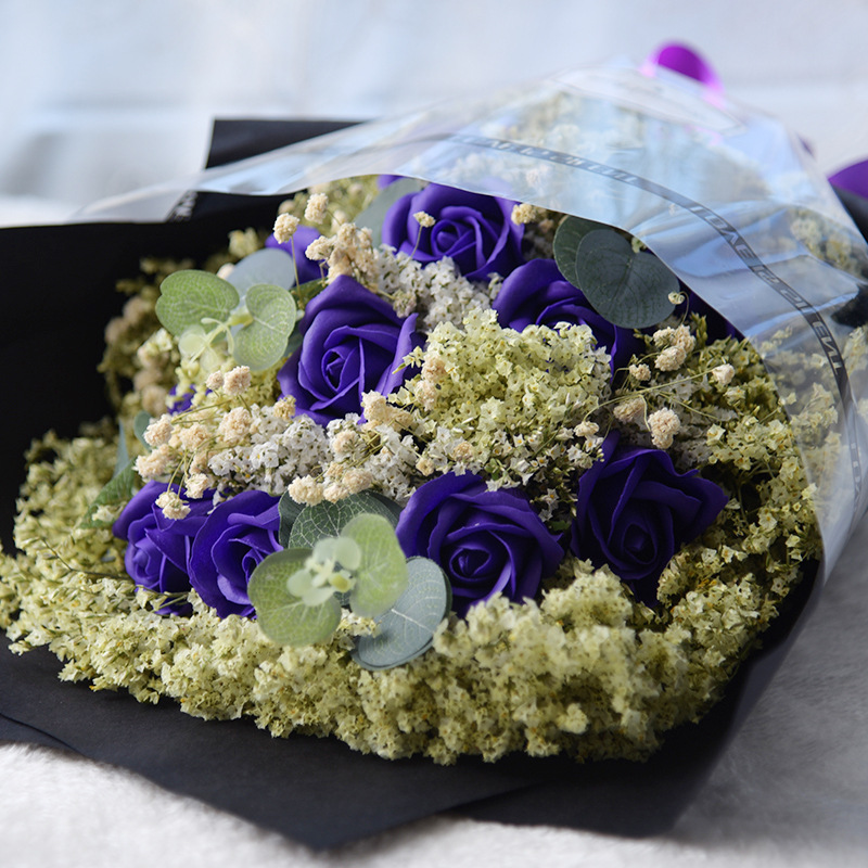 Eternal Angel soap rose artificial crystal grass and starry sky flower bouquet with gift box birthday gift