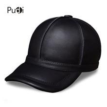 HL028 genuine leather men baseball cap hat new brand mens real adult solid adjustable hats/caps