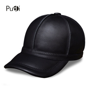 Image 1 - HL028 genuine leather men baseball cap hat new brand mens real leather adult solid adjustable hats/caps