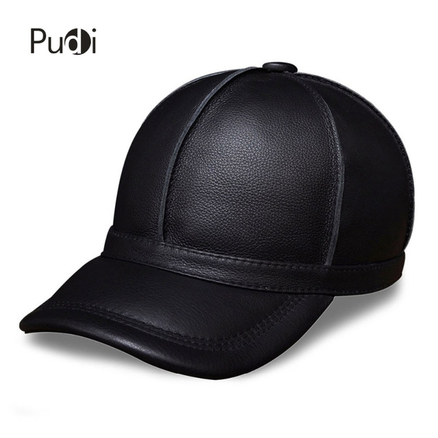 HL028 genuine leather men baseball cap hat new brand mens real leather adult solid adjustable hats/caps