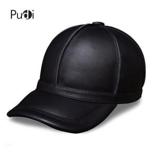 Image 1 - Hl028本革男性野球キャップ帽子新ブランドメンズリアルレザー大人固体調節可能な帽子/キャップ