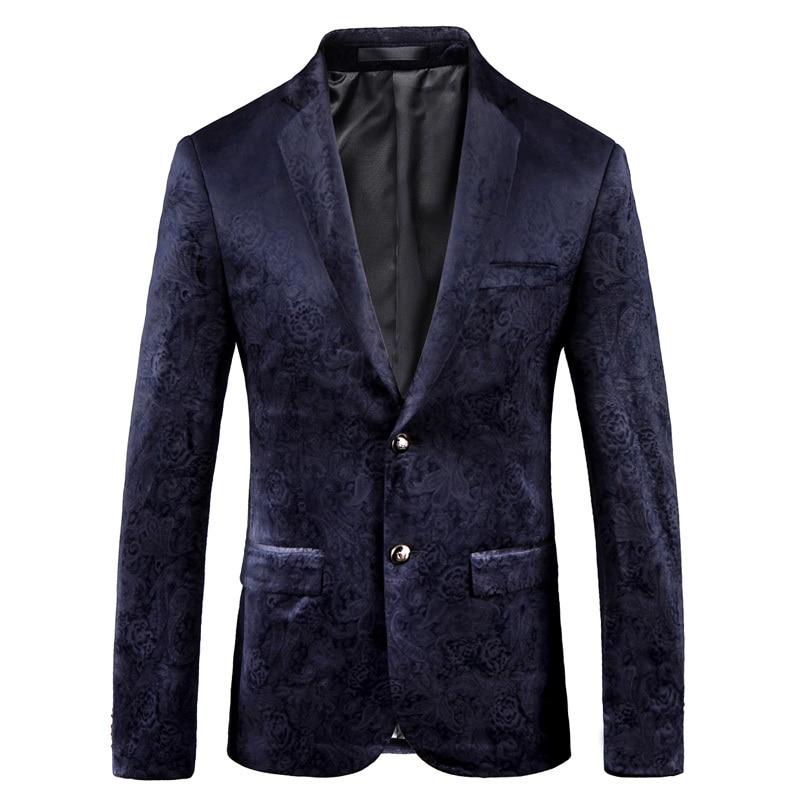 Luxury Floral Blazer Men 2018 Blue Print Suit Jacket Men Blazer Homme Slim Fit Chaquetas Hombre De Vestir Business Party Blazer