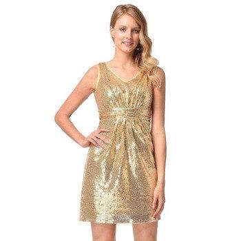 Señoras Vestido Formal Lentejuelas Vestido Dorado 2018
