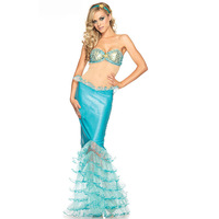 Sexy Blue Halloween Party Mermaid BraCostumes New Adult Womens Halloween Cosplay Costume