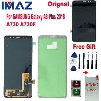 IMAZ 100% Orignal Super AMOLED For Samsung Galaxy A8+ 2018 A730 A730F A8+ 2018 LCD Display Touch Screen Digitizer Assembly+Glue