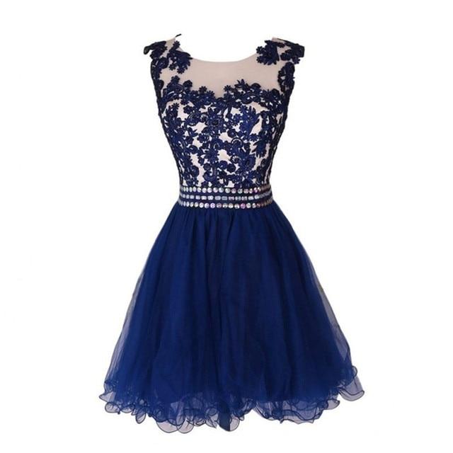 9f46758d5d Vestidos de Coctel cortos Vestidos de Fiesta 2016 Sexy Sheer Azul Marino  Vestidos de Fiesta Baratos