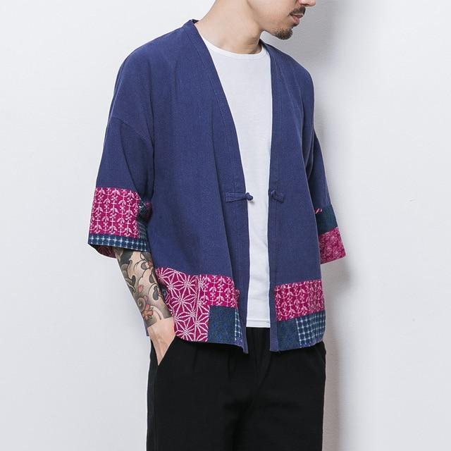f9d6d6981c Kimono Jacket Men Retro Style National Patchwork Linen Cardigan Jackets  Casual Loose Open Stitch Male Coat Streetwear