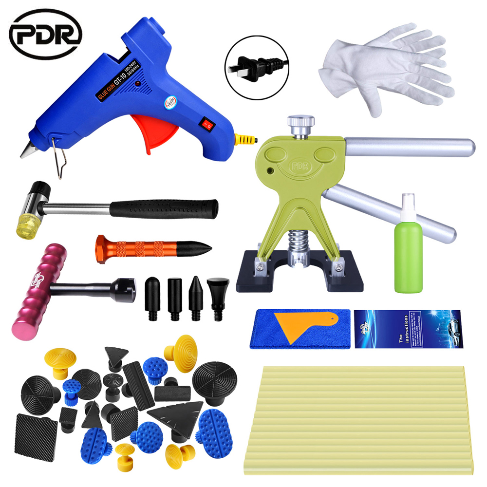 PDR tools Paintless car dent removal tools set auto body hail hurt repair tool kit glue gun dent lifter glue puller hand tools golden car dent lifter glue puller with 18pcs blue tabs repair hail removal tool