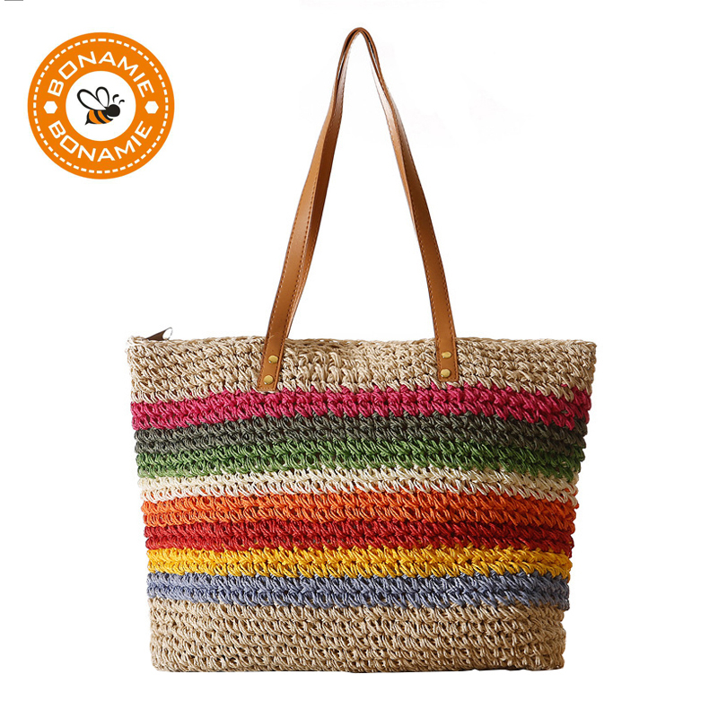 Bohemia Summer Beach Travel Womens Shoulder Bag Straw Weaving Tote Handbag Buy One Give One Women's Bags Luggage & Bags